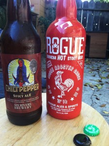 Rouge clearly wins the contest for best looking bottle, but if you really want a true spicy beer I would get the Six Rivers Brewery on the left. It cost half the price for twice the hot pepper gratification. Good for clearing the head.