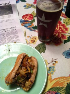 Pictured here with a home brewed imperial red, my sausage grilling used to be pretty good