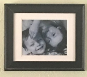 "The ""art on the wall"" for this post is a photo of our kids as toddlers that hangs above the living room TV."
